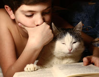 Boy evening read book with cat. Preteen handsome boy evening read book with cat in the bed before sleeping Royalty Free Stock Image