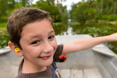 Boy in the everglades. Royalty Free Stock Photo