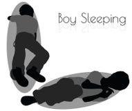 Boy in Everyday Sleeping pose on white background Royalty Free Stock Image
