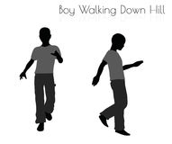 Boy in Everyday Walking  Down Hill pose on white background Royalty Free Stock Image