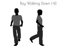 Boy in Everyday Walking  Down Hill pose on white background Stock Photos