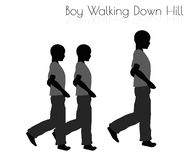 Boy in Everyday Walking  Down Hill pose on white background Stock Image
