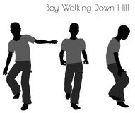 Boy in Everyday Walking  Down Hill pose on white background Royalty Free Stock Images
