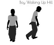 Boy in Everyday Walking Up Hilll pose on white background Royalty Free Stock Photos