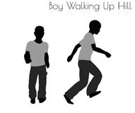 Boy in Everyday Walking Up Hilll pose on white background Stock Photos