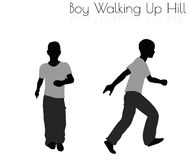 Boy in Everyday Walking Up Hilll pose on white background Stock Images