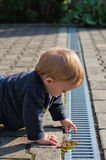 Boy examining gutter in yard Stock Image