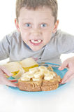 Boy excited about sandwich Royalty Free Stock Photo