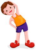 Boy exercises. Illustration of isolated boy exercises on white background Stock Photos