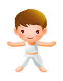 Boy Exercising. The boy in white shirt is Exercising Royalty Free Stock Images
