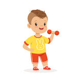 Boy exercising with dumbbell, kid doing sports colorful character vector Illustration. On a white background Stock Photos
