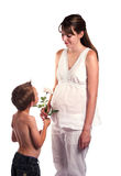 Boy and Expectant Mom Royalty Free Stock Photo