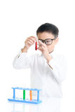 Boy experimental in the lab Stock Photography