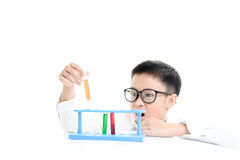 Boy experimental in the lab Royalty Free Stock Photos