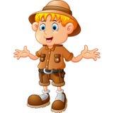 Boy explorer cartoon Stock Image