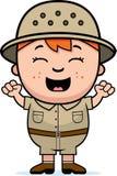 Boy Explorer Excited. A cartoon illustration of a boy explorer looking excited stock illustration