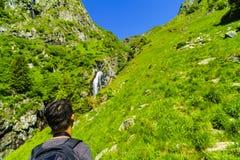 Boy explores nature on the mountain Royalty Free Stock Photos