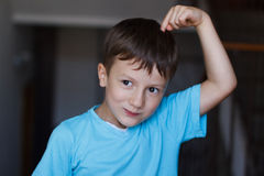 Boy with expression of an idea Royalty Free Stock Image