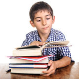 Boy expression looking in opened book Royalty Free Stock Photos