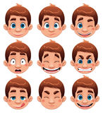 Boy Expressions. Funny cartoon and  character Stock Photo