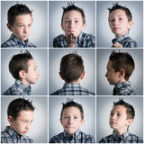 Boy expressions. Many different boy face expressions Stock Image