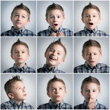Boy expressions. Many different boy face expressions Stock Photo