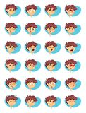 Vector Illustration of Young Boy Various Facial Expressions stock images