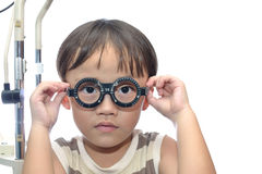 Boy eye examination Royalty Free Stock Images