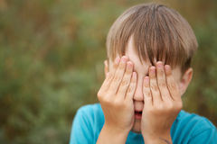 Boy with eyes closed Royalty Free Stock Image