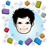 Boy face, human head. Vector character, happy brunet teenager wi Stock Photography