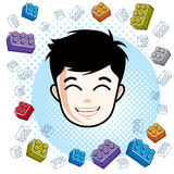 Boy face, human head. Vector character, happy brunet teenager wi Stock Images