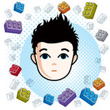 Boy face, human head. Vector character, happy brunet teenager wi Royalty Free Stock Photos