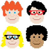Boy face pixel art Stock Photos