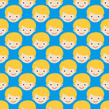 Boy face seamless pattern expression cute teenager cartoon character and happyness little kid flatvector illustration. Stock Photos