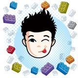 Boy face, vector human head illustration. Brunet kid making funn. Y grimace Stock Images