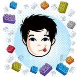 Boy face, vector human head illustration. Brunet kid making funn. Y grimace Stock Photography