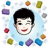 Boy face, vector human head illustration. Brunet kid winking. Cool cartoon style drawing Royalty Free Stock Image