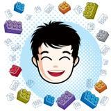 Boy face, vector human head illustration, portrait. Brunet teena Royalty Free Stock Photos