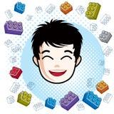 Boy face, vector human head illustration, portrait. Brunet teena Royalty Free Stock Images