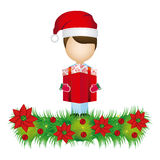 boy faceless with gift and wreath with christmas flowers decorative Royalty Free Stock Photos