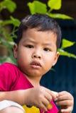 Boy faces fear. stock photo