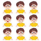 Boy faces showing different emotions Stock Photos