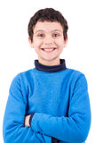 Boy faces. Young boy making faces isolated in white stock images