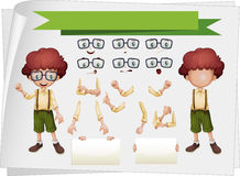 Boy with facial expressions and hand gestures Royalty Free Stock Image