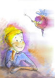 Boy and fairy Stock Photography