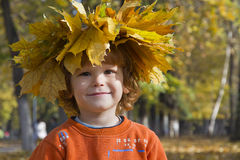 Boy and Fall Stock Photo