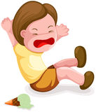 Boy fall down. Illustration of isolated boy fall down on white background Stock Image
