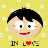 Boy falling in love cartoon. Heart Stock Images