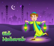 Boy with fanoos celebrating Eid. Happy boy running with fanoos for Eid in vector royalty free illustration