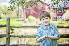 Boy on farm standing under a tree. Happy smiling five year old boy wearing plaid shirt  standing in front of a fence and barn under a tree. Country farm life stock photos